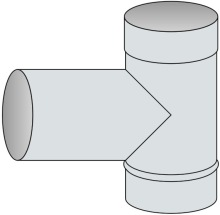 T-kus 90° Ø250 mm - nerez síla 1 mm