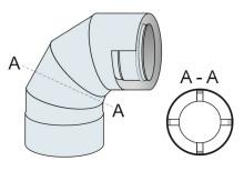 Koleno 90° koaxiální přetlak 100mm/160mm - nerez síla 0,6 mm