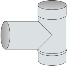 T-kus 90° Ø300 mm - nerez síla 0,8 mm