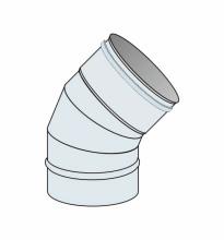 Koleno 45° přetlak Ø125 mm - nerez síla 0,6 mm