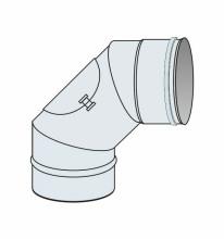 Koleno 90° s kontrolním otvorem přetlak Ø125 mm - nerez síla 0,6 mm