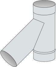 T-kus 45° Ø250 mm - nerez síla 0,8 mm
