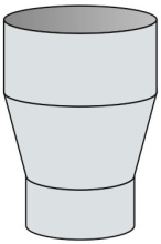 Redukce konická Ø125 mm kouřovod - nerez(1.4301) síla 0,6 mm