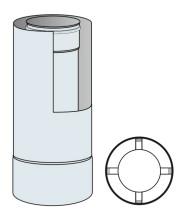 Roura kouřovodu koaxiální 60mm/100mm délka 0,5 m - nerez síla 0,6 mm