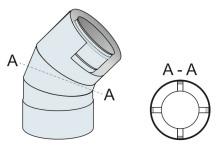 Koleno 45° koaxiální přetlak 100mm/160mm - nerez síla 0,6 mm