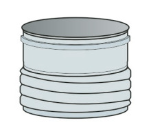 Přechod z roury/do ohebné vložky Ø60 mm - nerez síla 0,6 mm